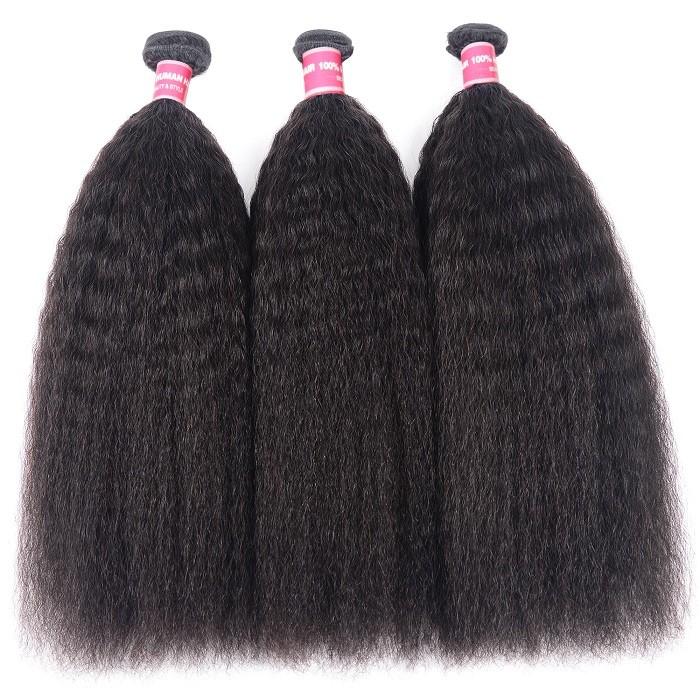 Kriyya Kinky Straight Brazilian Hair 3 Bundles 100 Human Hair Weave