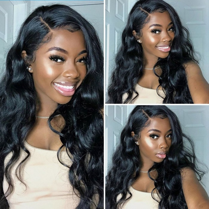 Kriyya 13x4 Body Wave Lace Frontal Wigs Human Hair 180% Density Pre Plucked With Baby Hair