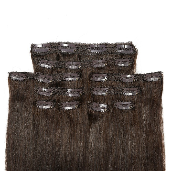Kriyya 16 Inch Hair Extensions Clip Ins Chocolate Brown Remy Hair