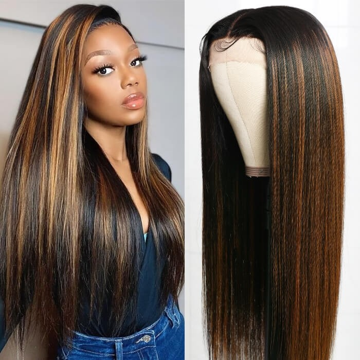 Kriyya #FB30 Bronde Highlight Straight Human Hair wigs T-Part Lace Wigs 150% Density Middle Part Lace Wig