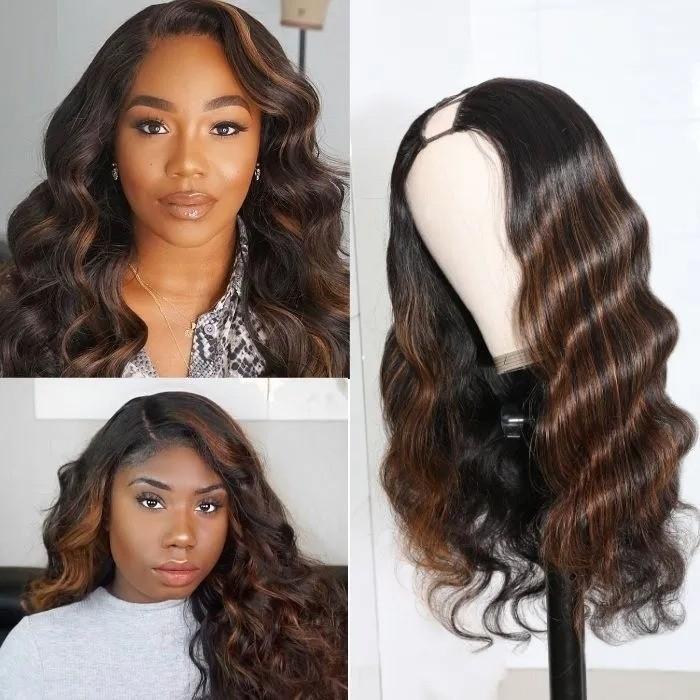 Kriyya Brazilian U Part Wig Virgin Human Hair Copper Red Highlight Body Wave 2X4 Middle Part 150% Density