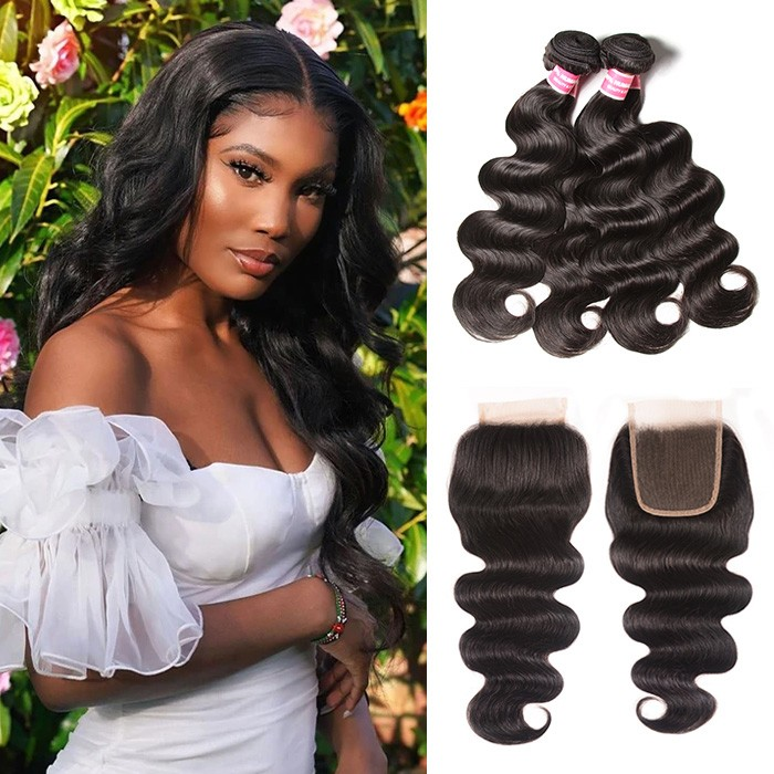 Kriyya Best Peruvian Human Virgin Hair Body Wave 4 Bundles With Lace Closure