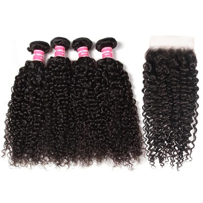 Kriyya Brazilian Jerry Curly Human Hair 4 Bundles With 5x5 Lace Closure Virgin Remy Hair