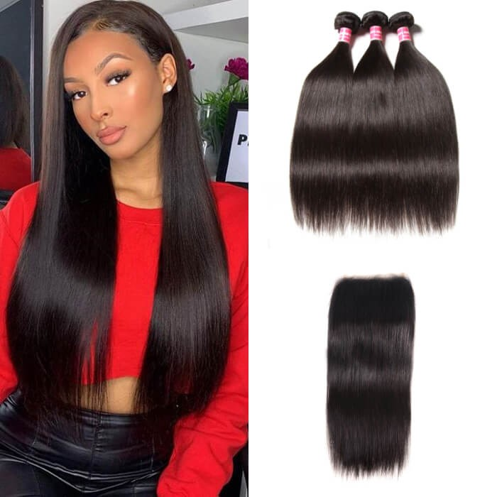 Kriyya Brazilian 3 Bundles With 5*5 Transparent Lace Closure Straight 100% Human Hair