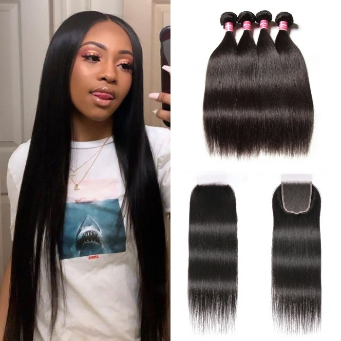 Kriyya Straight Human Hair With Transparent Lace Closure 4 Bundles With 5x5 HD Lace Closure Unprocessed Virgin Hair
