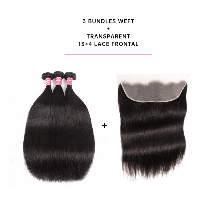 Brazilian Straight Bundles With Transparent Frontal